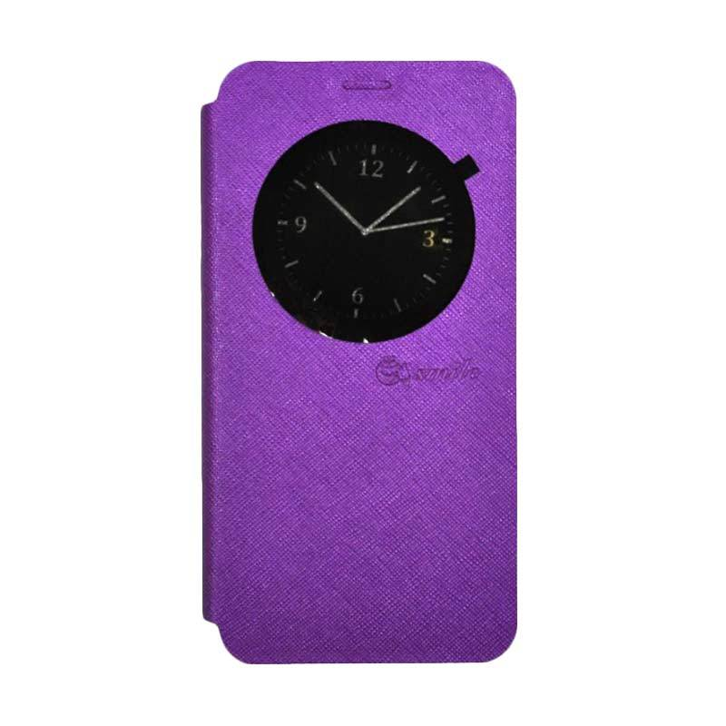 SMILE Leather Standing Flip Cover Casing for LG K8 - Purple
