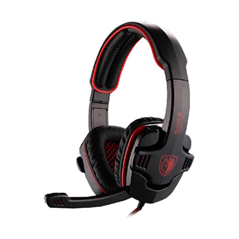 harga SADES SA-901 Deep Bass Gaming USB Gaming Headset for PC or Notebook - Red Blibli.com