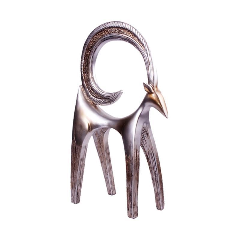 Thema Home A7 2453 Kambing Recynth Patung Hiasan - Silver