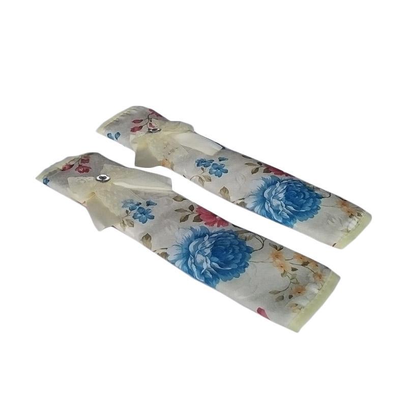 Tren-D-Home Bunga Fridge Handle Cover Kulkas - Biru [28 x 15.4 cm]