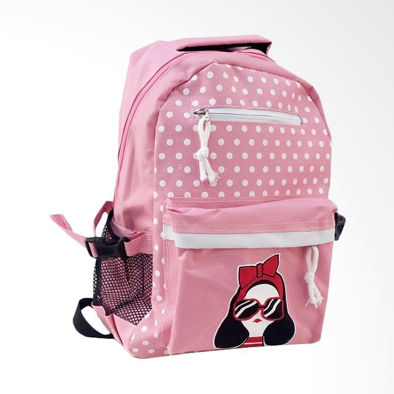 Chloebaby Shop S320 Kanvas Backpack Wanita - Pink