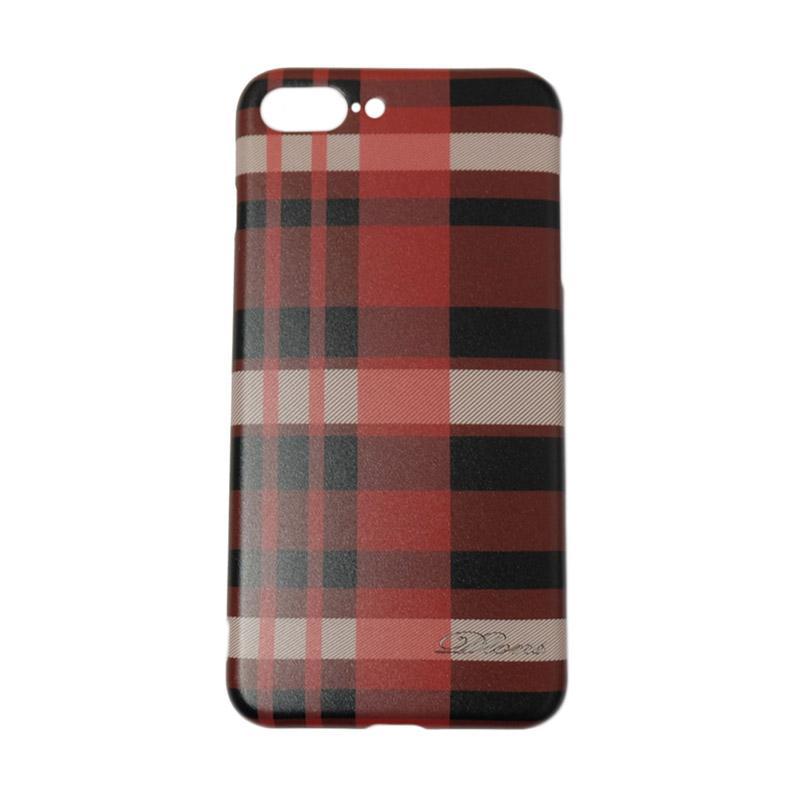 QCF Softacse Square Line British Style Casing Motif Kotak-Kotak for Apple iPhone 7 Plus / iPhone 7+ / iPhone 7Plus Ukuran 5.5 Inch - Merah