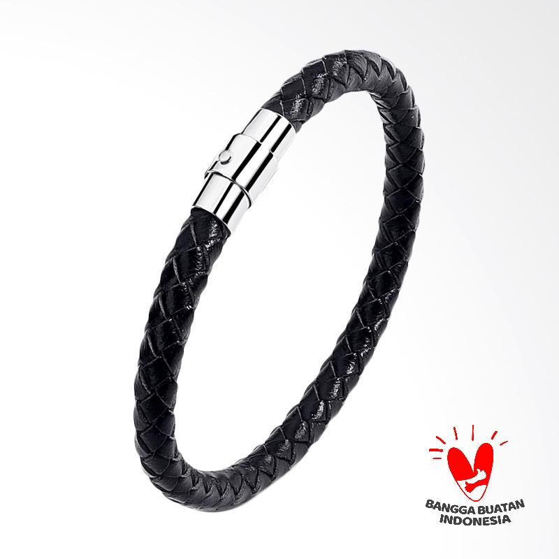 Arrazi Craft Kulit Model Simple Gelang Pria - Hitam