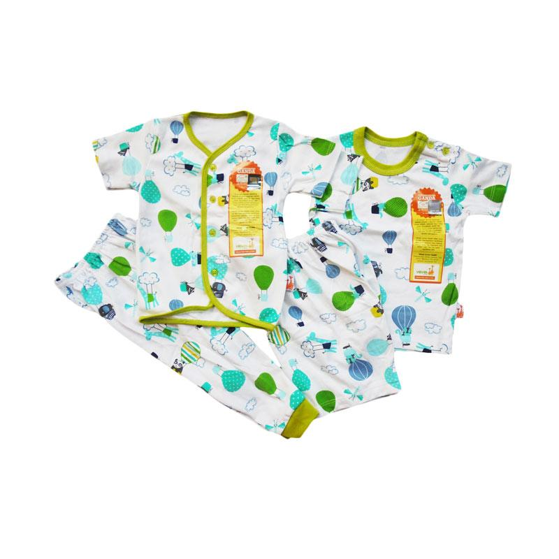 Velvet Junior Baloon World Series Set Setelan Piyama - White Green