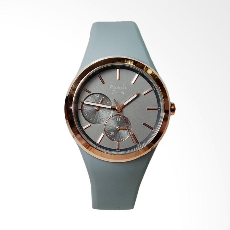 Alexandre Christie AC2663BF Multifunction Silicone Strap Watch Jam Tangan Wanita - Grey