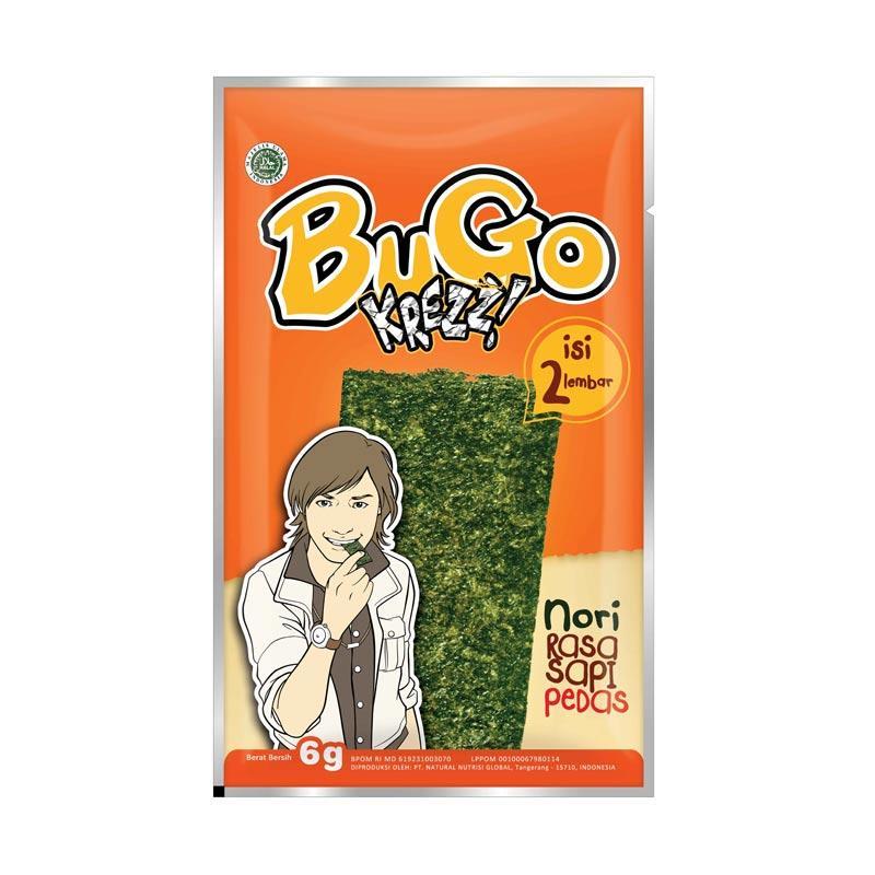 BUGO Krezz Rasa Sapi Pedas Snack Rumput Laut 6 gr x 144 PCS (1 Karton)
