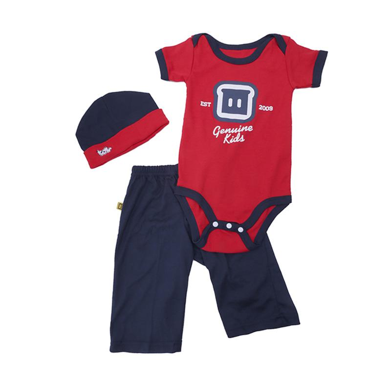 TDLR Genuine Kids Setelan Baju Celana Topi Bayi Laki laki Merah .