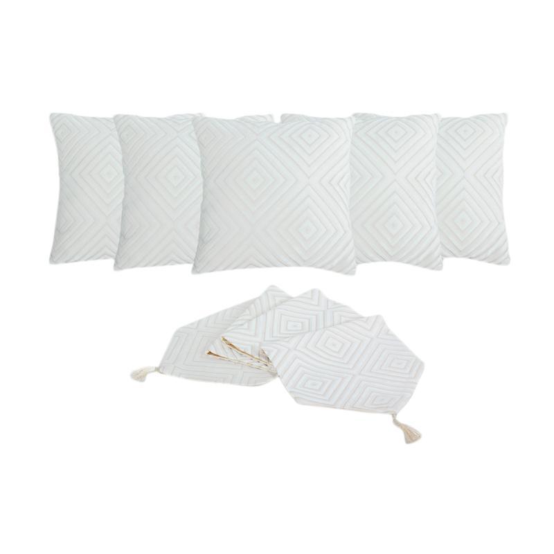 Tren-D-Home Bludru Aksen Dekorative Sarung Bantal Sofa [ 40 x 40 cm/ 5 pcs] + Runner Taplak Meja [33 x 150 cm] - Beige