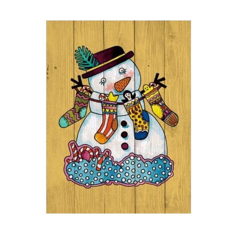 Daily Deals Artistic 18 Poster Kayu Solid Happy Snowman Hiasan Natal Dekorasi Dinding