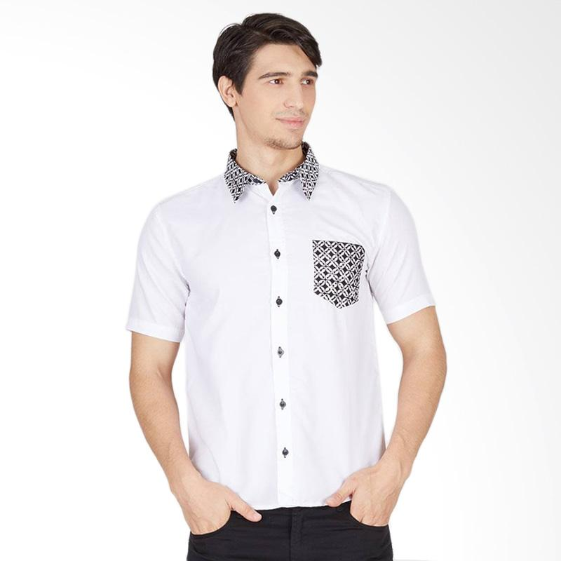 Enzy Batik Short Sleeve Shirt Pocket Batik Kawung - White