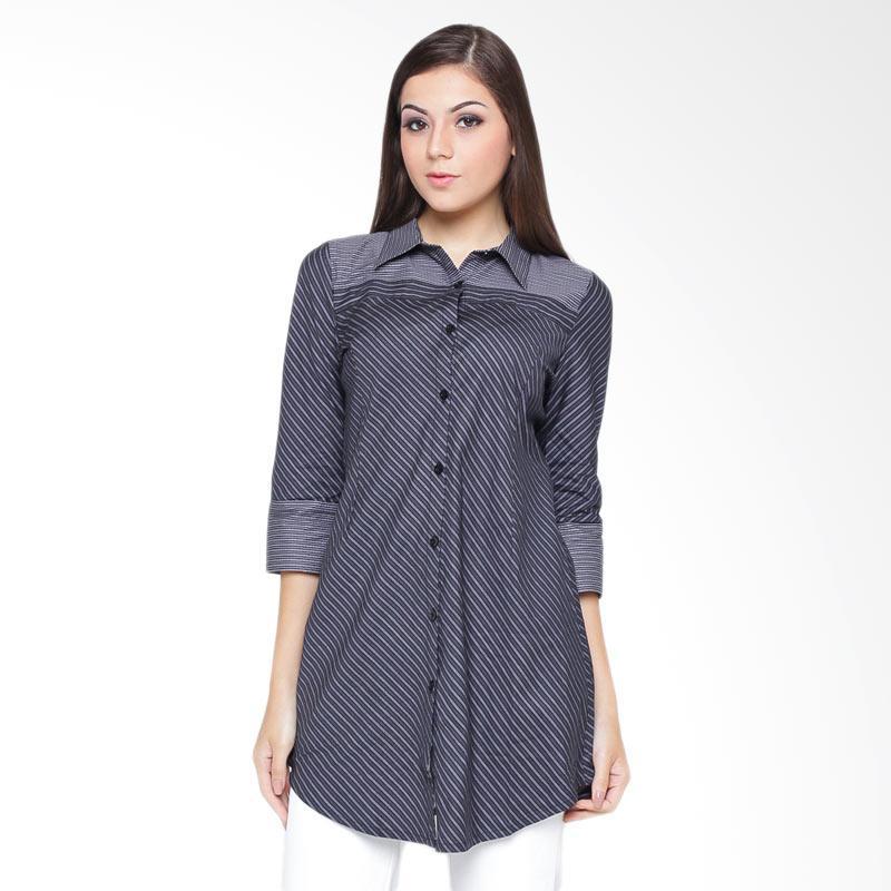 A&D Fashion MS 756B 3/4 Sleeve Blouse Atasan Wanita - Black