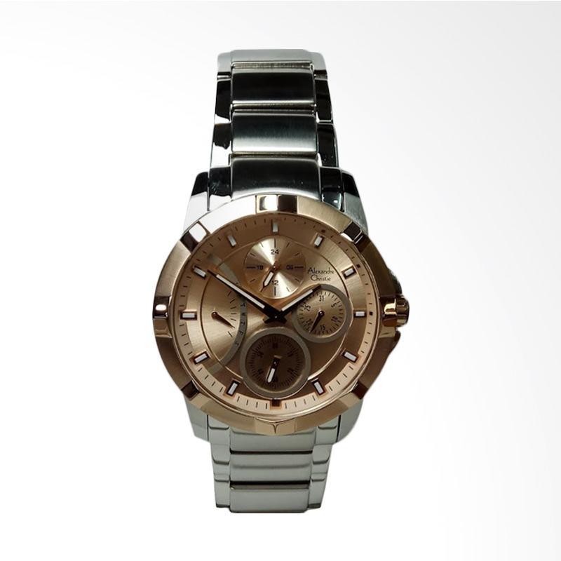 Alexandre Christie AC2503BF Multifunction Stainless Steel Jam Tangan Wanita - Silver Light Gold