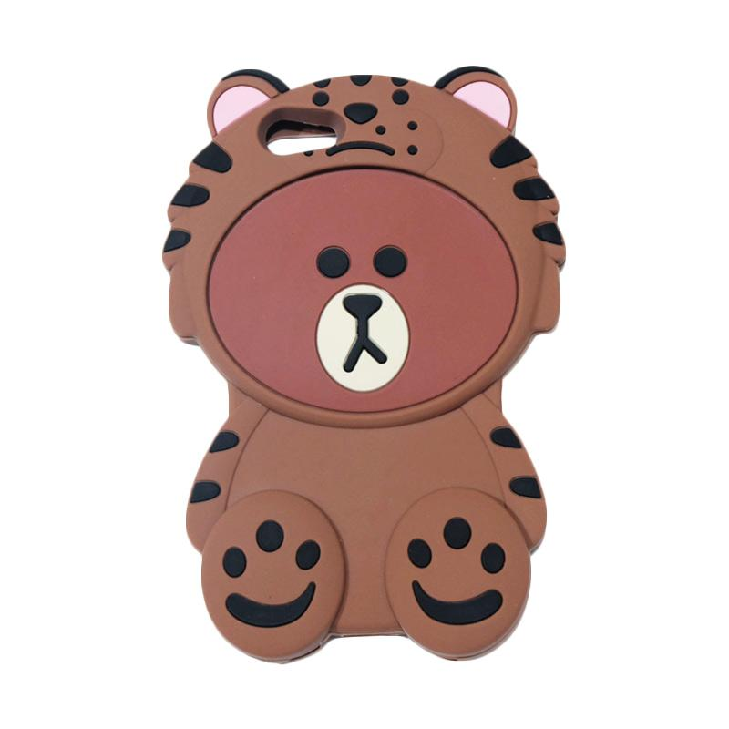 QCF Softcase 4D Karakter Beruang Kostum Singa Silicone Casing for Oppo A39 - Coklat