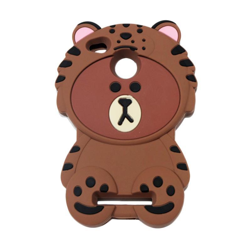QCF 4D Karakter Beruang Kostum Singa Silicone Softcase Casing for Xiaomi Redmi 3X - Coklat