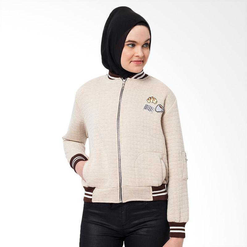 Boontie Coffee Jacket Bomber Wanita - Cream