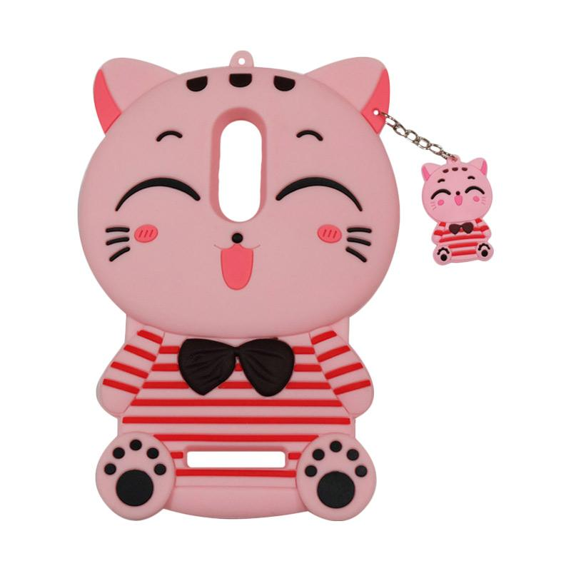 QCF Softcase 4D Karakter Kucing Lucky Cat Pink Silicone 4D Casing for Xiaomi Redmi Note 4 - Pink