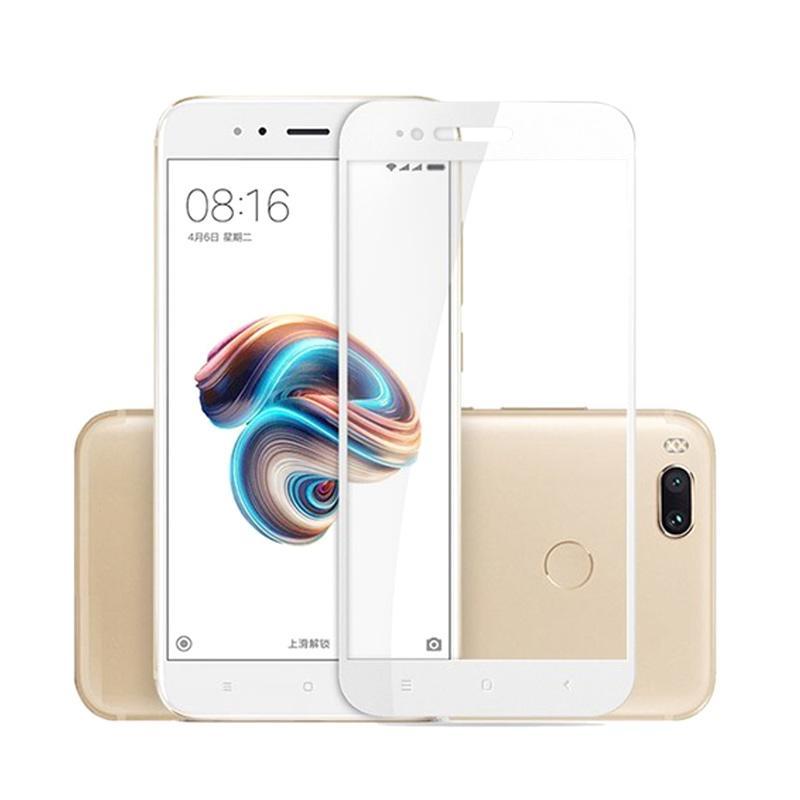 QCF Tempered Glass Warna Full White (Depan Saja) Screen Protector for Xiaomi Mi A1 / MiA1 Anti Gores Kaca - White
