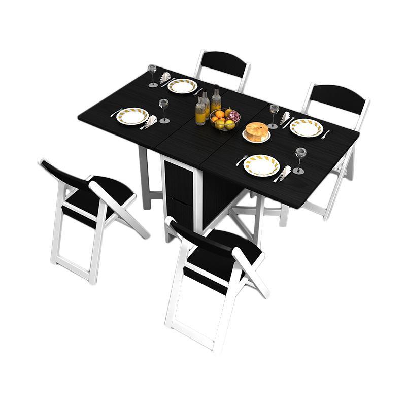 Funkids Folde Meja Makan dan Kursi Lipat - White/ Black