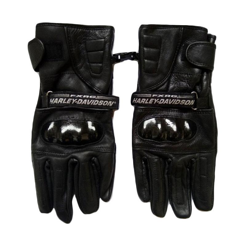 Harley Davidson Kulit Asli Sarung Tangan Full Finger - Black