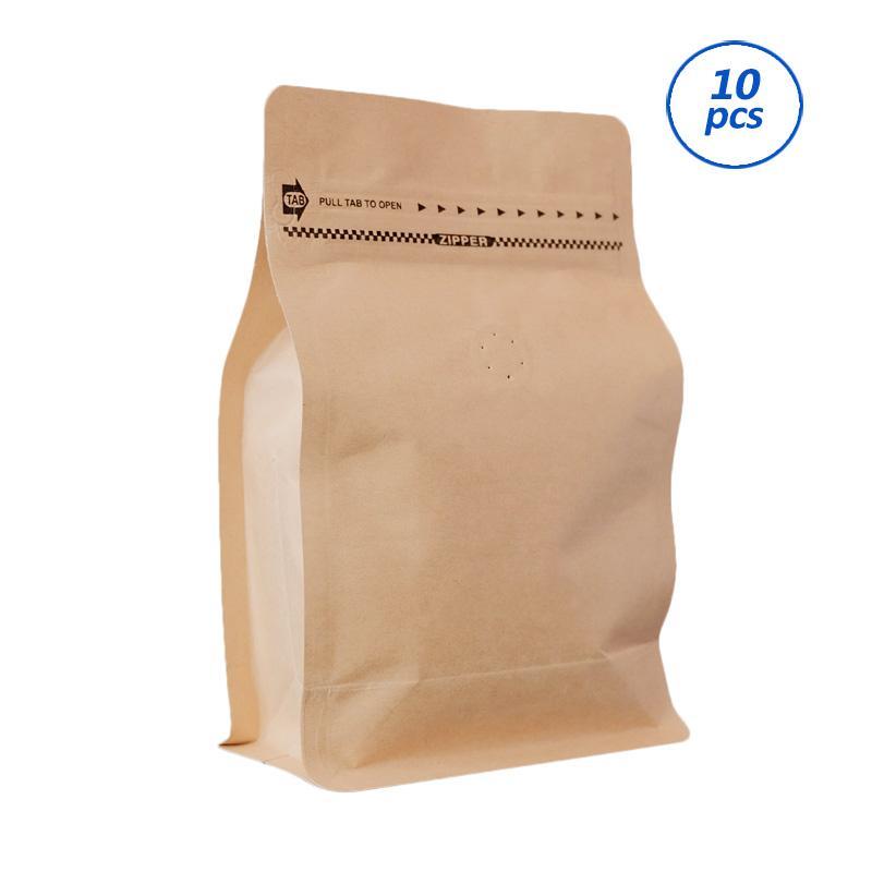 Worcas Coffee Bag Box Pouch With Zipper - Kraft [250 g/ 10 pcs]