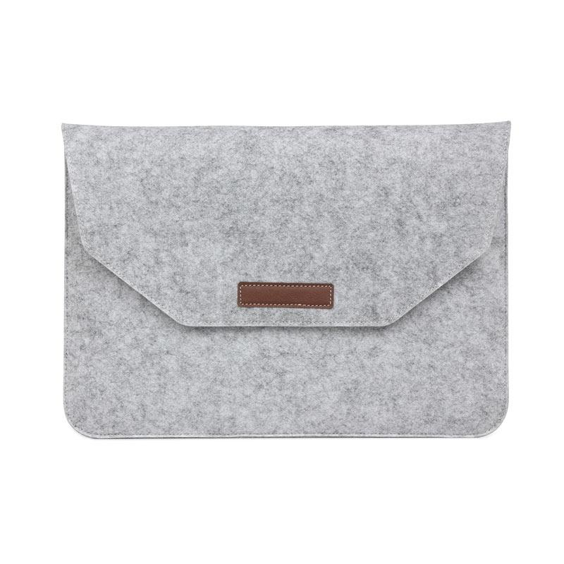Cooltech MacBook Sleeve Simply Wool Felt Softcase Tas Laptop - Grey [15 Inch] + Free Pouch