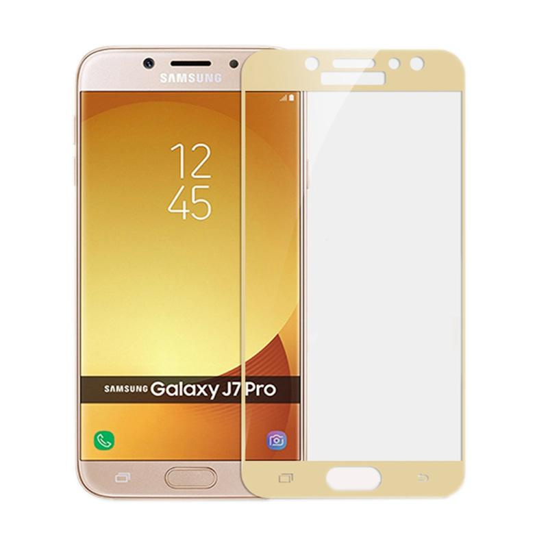 QCF Full Tempered Glass Screen Protector for Samsung Galaxy J7 Pro 2017 - Gold [Front Only]