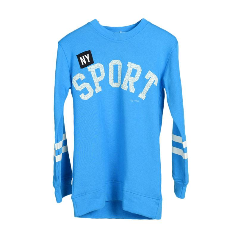 Versail Kids PM1004 Sablon N.Y Sport Kids Lengan Panjang Sweater Anak Laki-laki - Blue