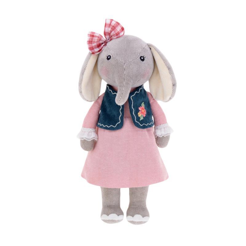 Metoo Gajah Import Pink Rompi Biru Boneka