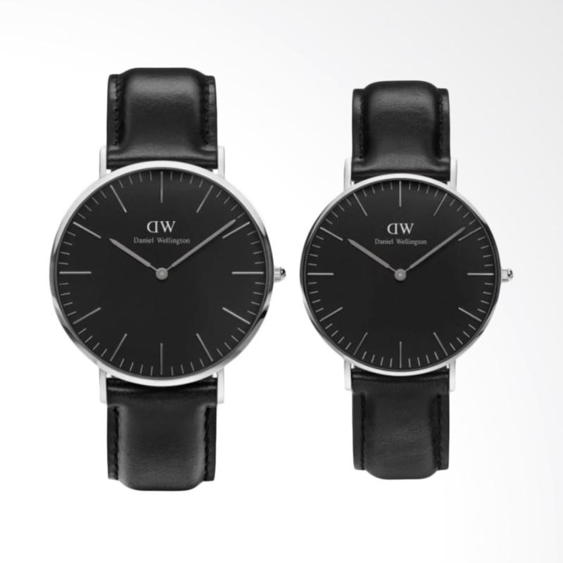 Daniel Wellington Classic Sheffield Jam Tangan Couple - Hitam Ring Silver [40mm & 36mm]