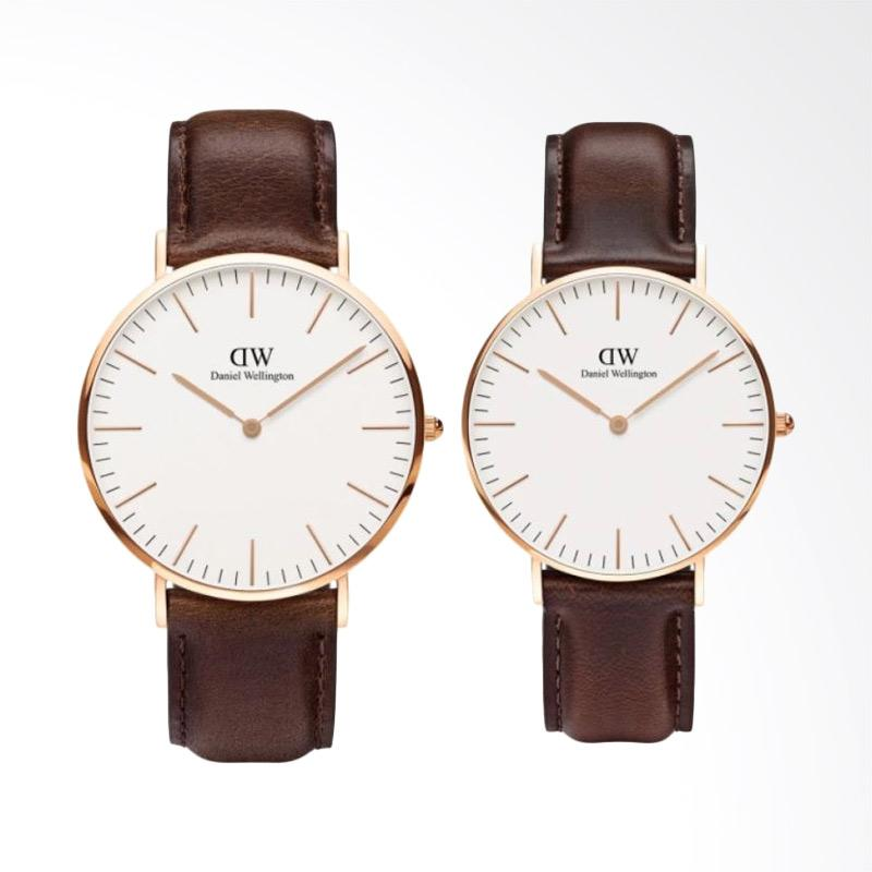 Daniel Wellington Couple Set Classic 40mm & 36mm Bristol Jam Tangan Couple - Coklat Tua Rose Gold