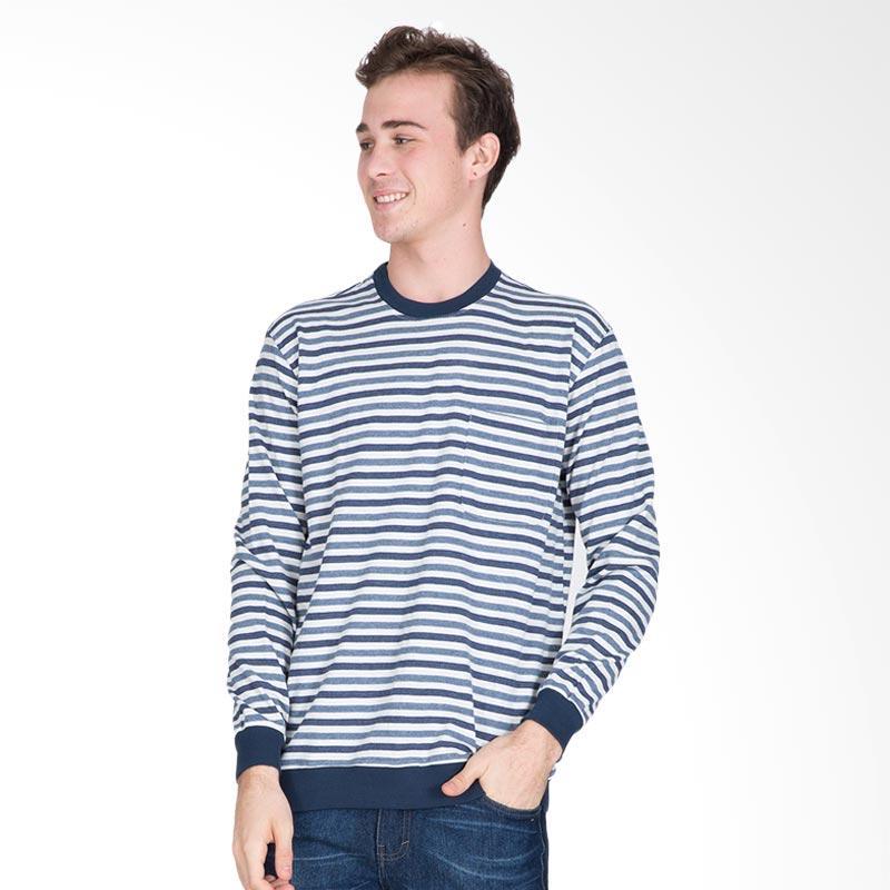 Tendencies Striped Heather Crewneck Sweater - Blue White
