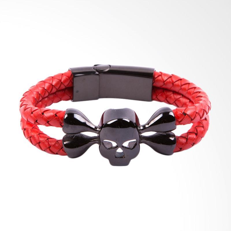 STRAPS Model Skull Devil Kulit Gelang - Red