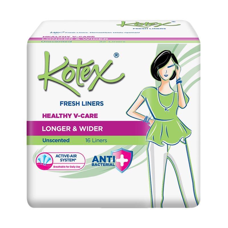 harga Kotex Fresh Liner Longer & Wider Anti Bakteri Pantyliner Pembalut Wanita [16 Pads] Blibli.com