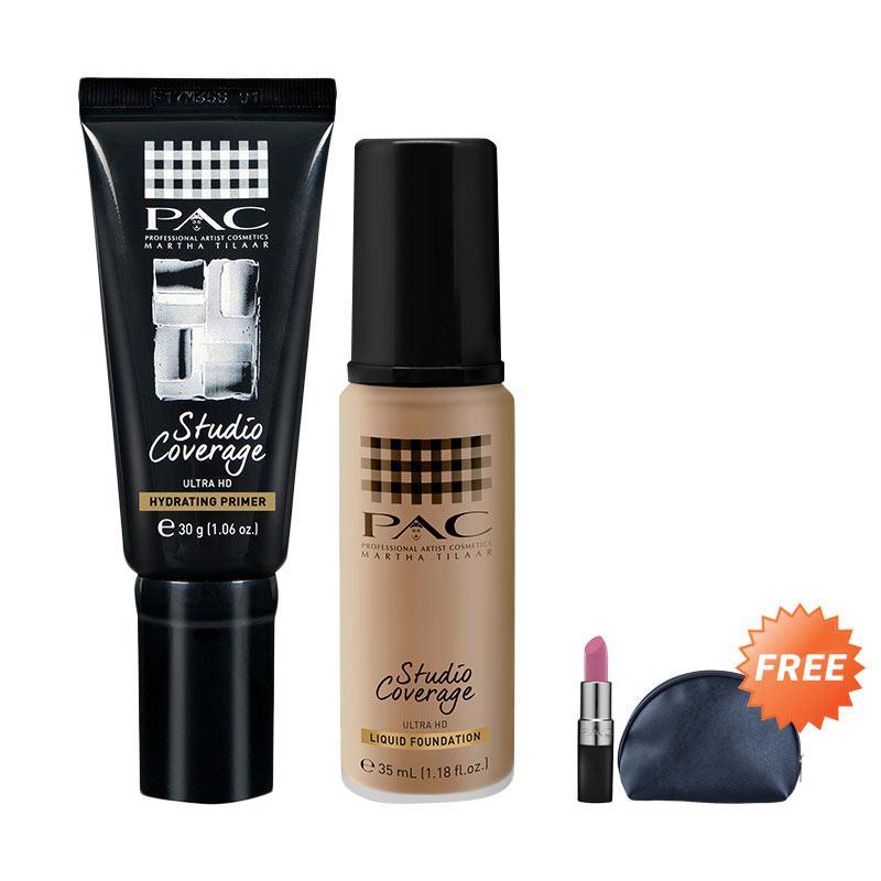 harga PAC Studio Coverage Primer & Liquid Foundation 04 + Free PAC Lipstick & Pouch Blibli.com
