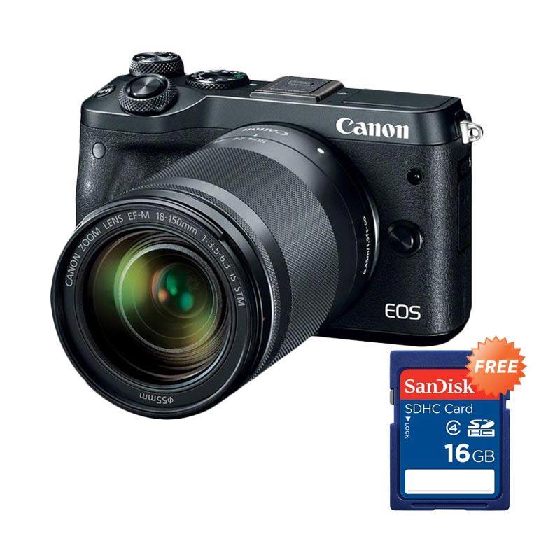 harga Canon EOS m6 Kit 18-150mm Mirrorless - Black - RESMI + Free Sandisk SDHC 16GB Blibli.com