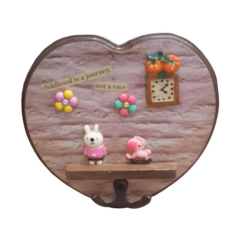 Tilavie Bentuk Love Pink Rabbit Tempat Gantungan Kunci - Adorable Brown