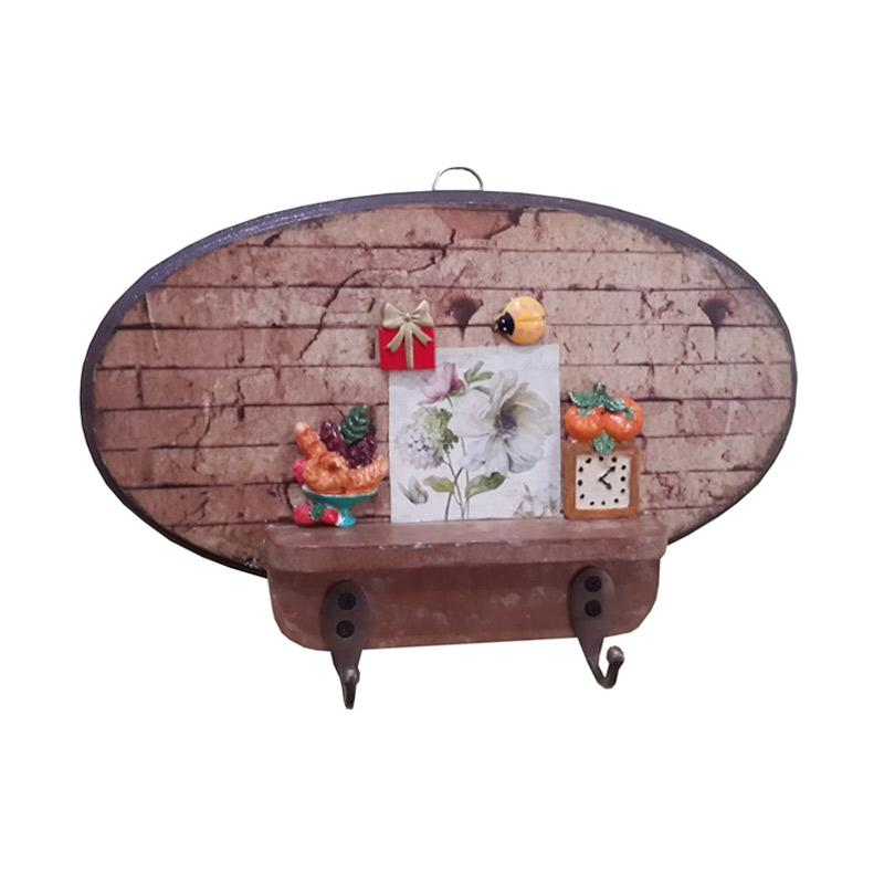 Tilavie Bentuk Oval Fruit n Gift Tempat Gantungan Kunci - Adorable Brown