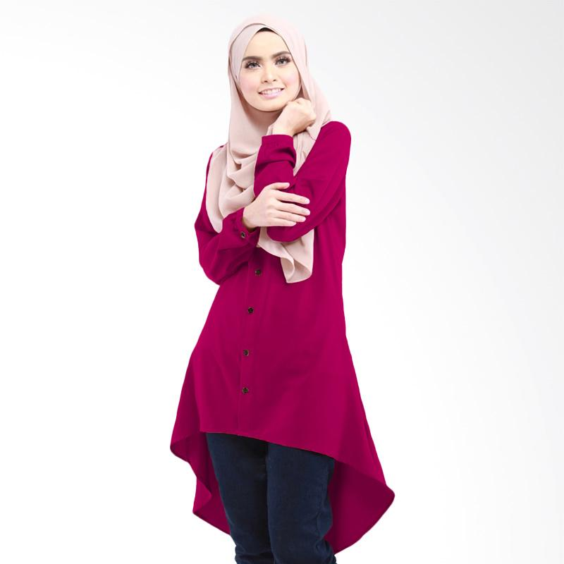 Jfashion Luna Tunik Kemeja Asimetris Tangan Panjang Kancing Full Atasan Muslim Wanita