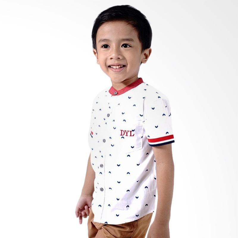 Kids Icon Stand Up Collar Shirt With Manset Detail Kaos Bayi Laki Laki White