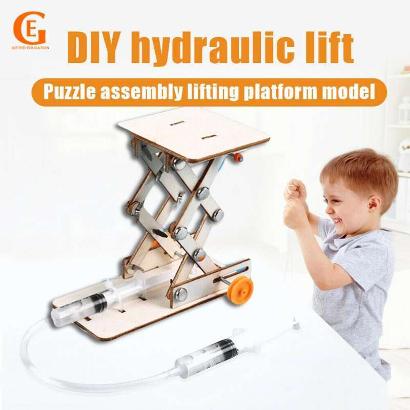 DIY Science Educational Toys Kids Hydraulic Lift Table Model Scientific Experiment Kit