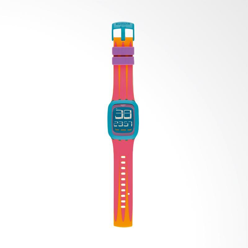 Swatch SURS103 Peche Melba Square Shape Digital Tali Silicone Jam Tangan Unisex