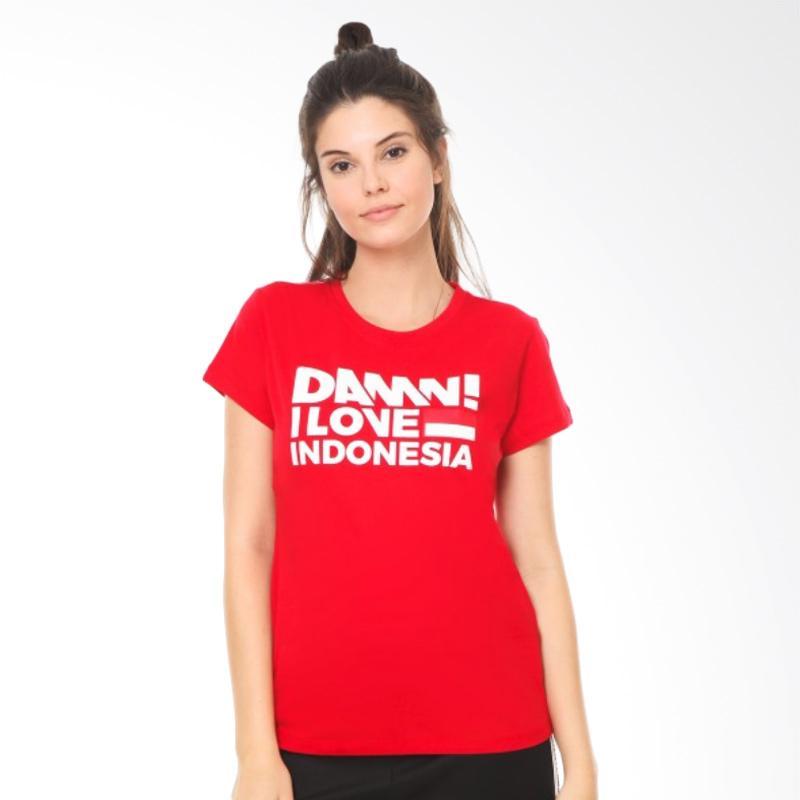 Diskon Damn I Love Indonesia Tee Sign Red HD White Female Kaos Wanita Online Shop