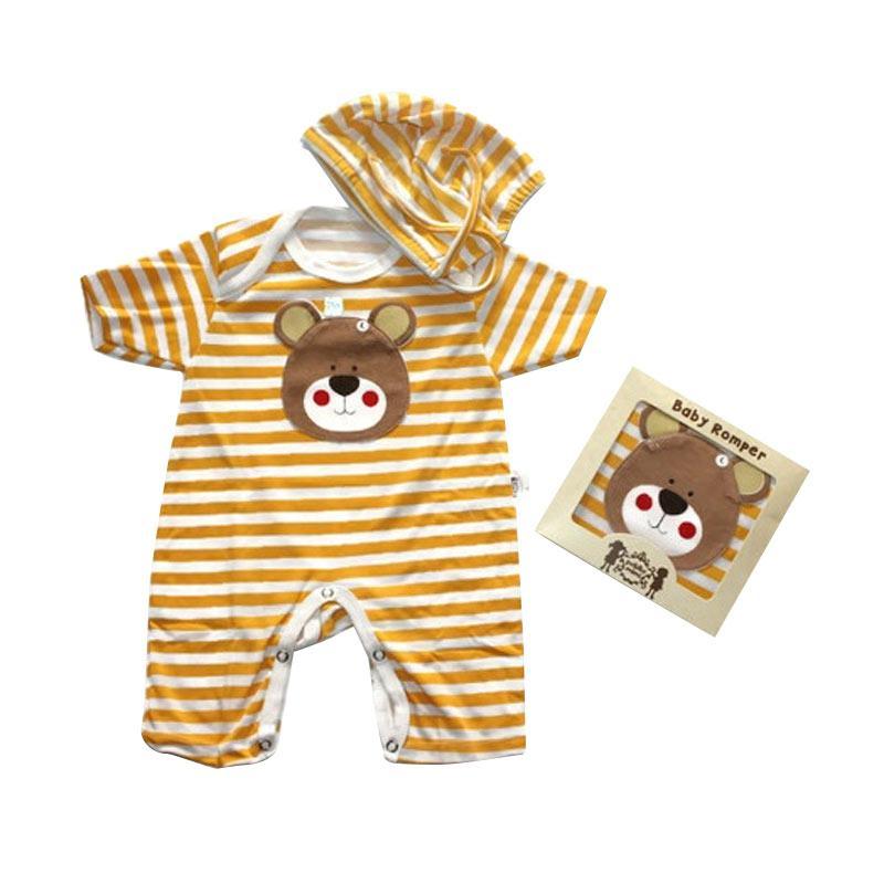 Jual Petite Mimi 3D Motif Bear Forest Animal Baby Romper Baju Bayi with Hat - Yellow Online - Harga & Kualitas Terjamin | Blibli.com