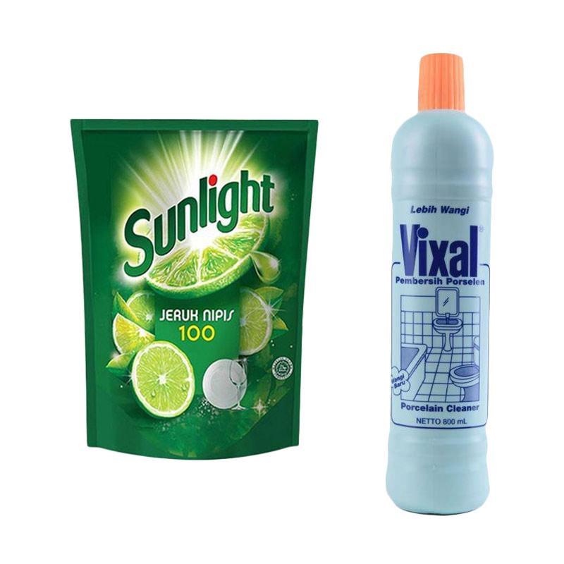 SUNLIGHT Jeruk Nipis Sabun Cuci Piring [780 mL/ Kemasan Pouch] + Vixal Hijau