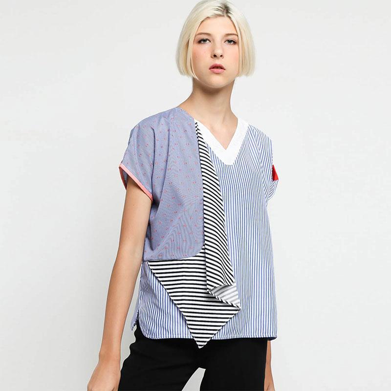 Oline Workrobe Wrapped Like Top Bli 01 Atasan Wanita Stripe Blue Mix