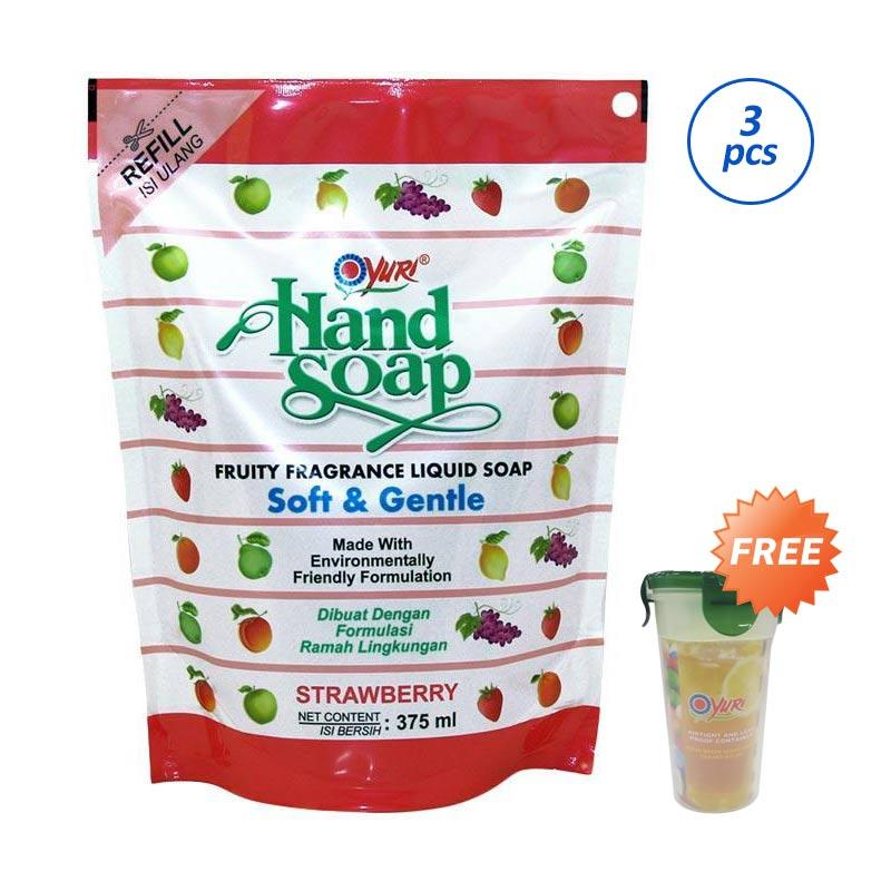 Yuri Strawberry Hand Soap [375 mL/ 3 pcs/ Pouch] + Free Tumbler 500 mL