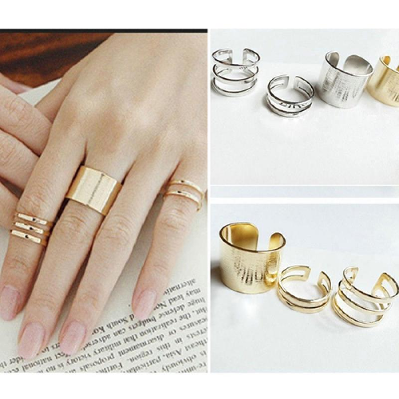 3PCS Punk Black Mid Finger Knuckle Ring Set Simple Spiral Opening Ring For Women