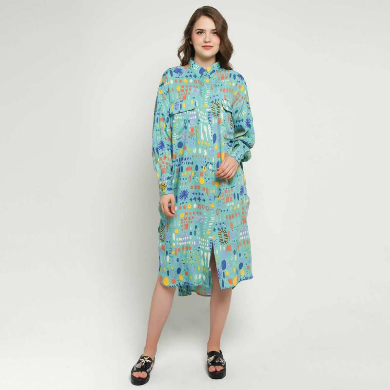 Calla The Label Ivy Full Printed Oversized Dress Wanita Multicolor