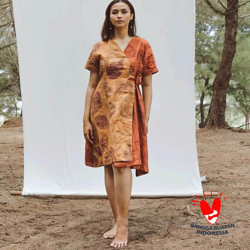 ARANE Ecoprinted Chalya an A line Dress Wanita