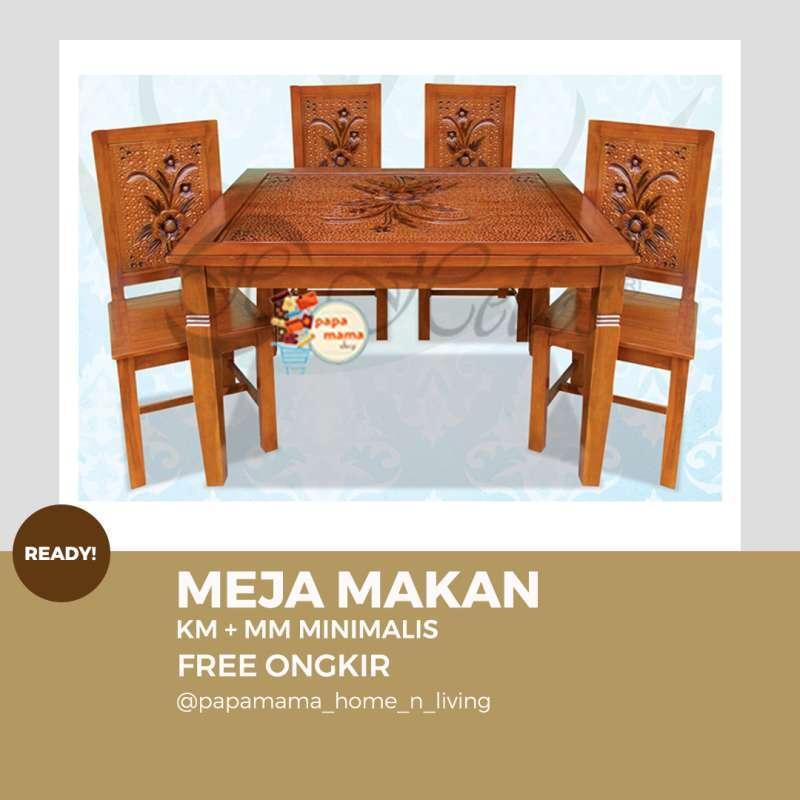 Jual Meja Makan Jepara Murah Kayu Jati 4 Set Meja Makan Kaca Murah 4 Set Tipe Minimalis Medan Online Mei 2021 Blibli